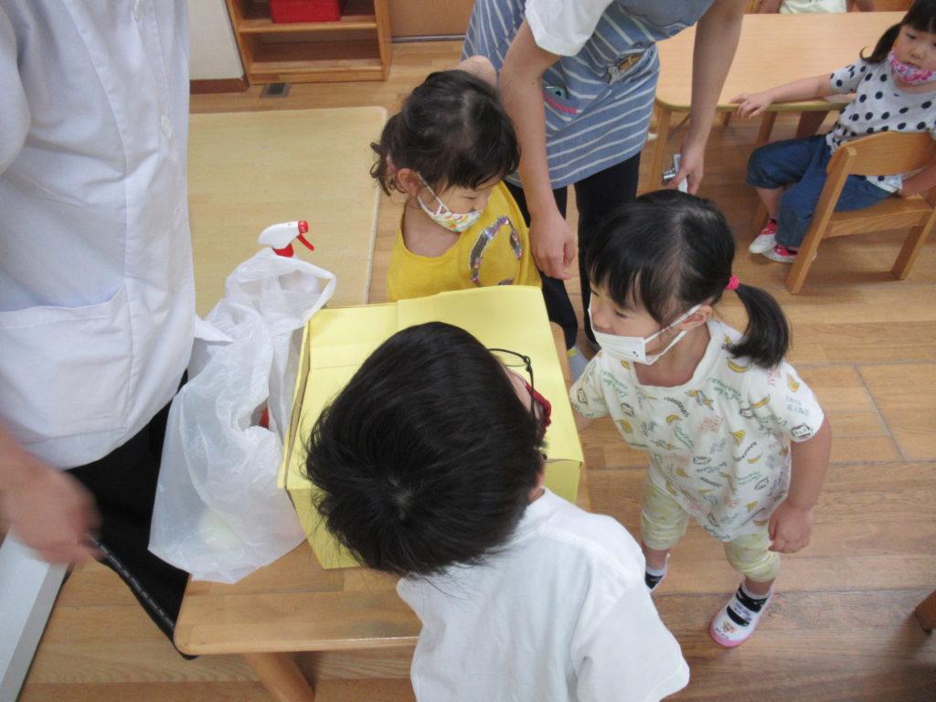 幼児クラスでは新しい食育で野菜のクイズを行っています。箱の中に入っている野菜を触って当てます!